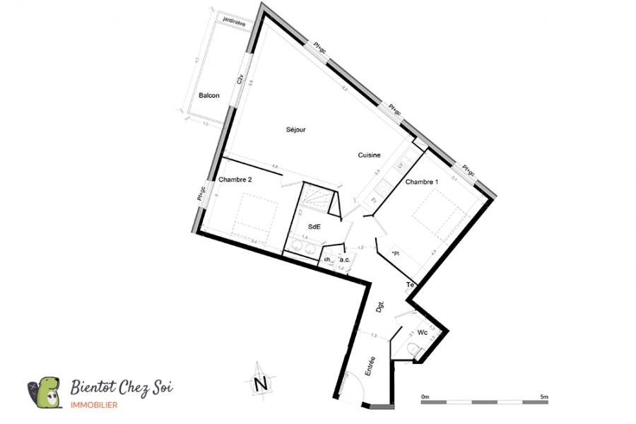 Bordeaux, 2 Chambres Chambres, 2 Chambres Chambres,1 Salle de bainsSalle de bain,Appartement,A vendre,1000