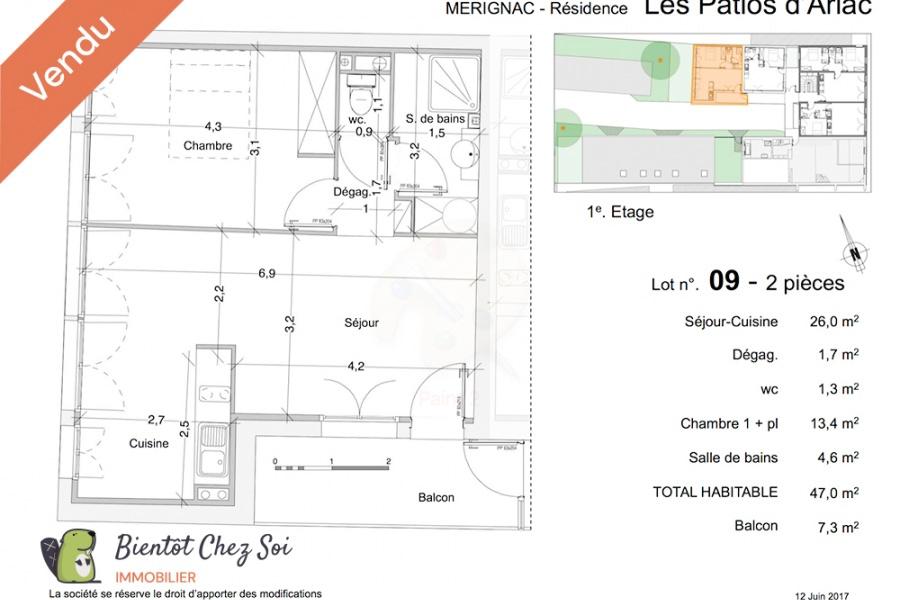 Mérignac, 1 Chambre Chambres, 2 Chambres Chambres,1 Salle de bainsSalle de bain,Appartement,A vendre,1006